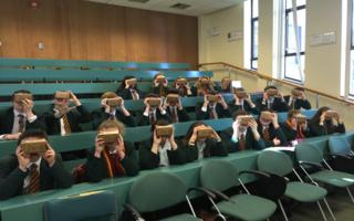 FSL students in lecture theatre being treated to some Google VR